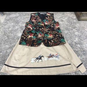 CHAUS Vintage Velvet Vest Skirt set Equestrian